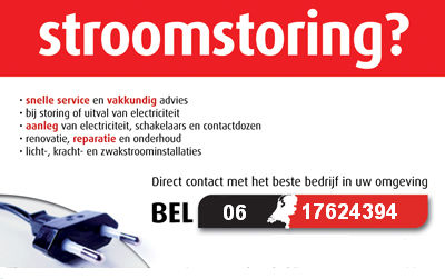 Stroomstoring? Bel ons